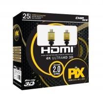 Cabo HDMI 2.0 - 19 Pinos - 4K Ultra HD - Blindado - 25 metros - PIX