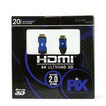 Cabo hdmi 2.0 - 4k, ultra hd, 3d, 19 pinos - 20 metros - UNICO - Chip sce