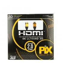 Cabo hdmi 2.0 - 4k, ultra hd, 3d, 19 pinos - 30 metros - UNICO - Chip sce