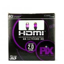Cabo hdmi 2.0 - 4k, ultra hd, 3d, 19 pinos - 40 metros - UNICA - UNICO - Chip sce