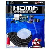 Cabo HDMI 2.0 Premium Ultra HD 4K50/60 3D, ChipSce - 8 metros - UNICO - CHIP SCE