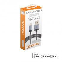 Cabo Lightning MFi para USB 2m Cinza - GEONAV -