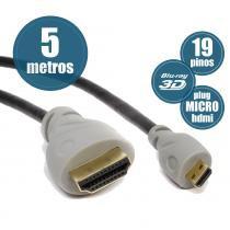 Cabo Micro HDMI para HDMI 1.4 Ultrahd 4K 3D - Chip Sce