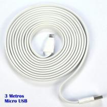 Cabo micro USB V8 flat 3 metros premium p/ carga e dados CBRN05185 - Commerce brasil