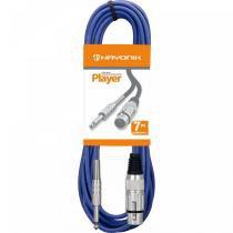 Cabo para Microfone XLR(F)/P10 7m PLAYER Azul - Hayonik - Hayonik