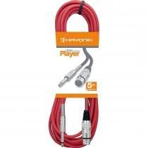 Cabo para Microfone XLR(F) X P10 5 Metros Player Vermelho - Hayonik - Hayonik
