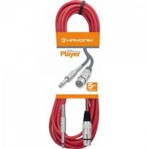 Cabo para microfone xlr(f) x p10 5m player vermelho hayonik - Hayonik