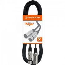 Cabo para microfone xlr(f) x xlr(m) 5m player preto hayonik - Hayonik