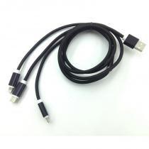 Cabo USB 3 em 1 USB-C - MicroUSB - Iphone - Wincabos