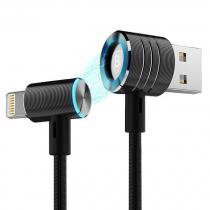 Cabo USB Iphone MFI Ipad Lightning Ipod Baseus 1 metro Nylon Alta Velocidade Conector Magnético -
