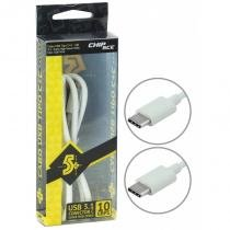 Cabo USB Tipo C + C - USB 3.1 Super Speed 10Gbps - Macbook, Chromebook, Smartphones e HDs - 1 Metro - Chip sce