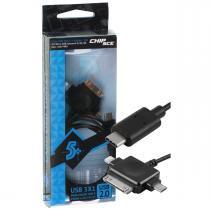 Cabo USB Tipo C Universal Micro USB + Lightning para Iphone Ipad Ipod Celulares e Tablets 1 Metro - - Chip sce