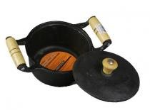 Caçarola de Ferro Alça de Madeira 16 1000 ml - Comprenet