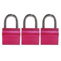 Cadeado 30mm rosa kit com 3 peças 9 chaves simples  shenling padloc - Shenling padlock