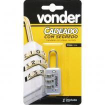 Cadeado com segredo 20mm cinza 3 combinações - Vonder - Vonder