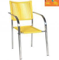 Cadeira C322 em Alumínio e Fibra Sintética Amarela - Alegro Móveis Alegro Móveis
