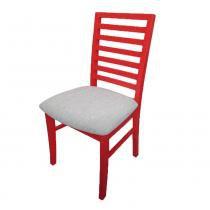 Cadeira Confort com Assento Estofado - Acabamento Verniz Poliuretano - Madeira Taeda - Vermelho - Seiva
