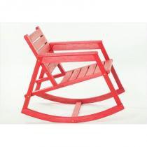 Cadeira de Balanço Janis Stain Vermelho - Mão  Formão - Mão  Formão