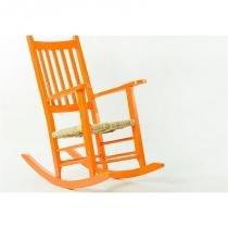 Cadeira de Balanço Palha em Laca Desgastado Pestre Laranja - Mão  Formão - Mão  Formão