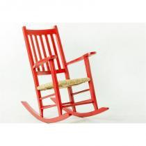 Cadeira de Balanço Palha em Laca Desgastado Pestre Vermelho - Mão  Formão - Mão  Formão