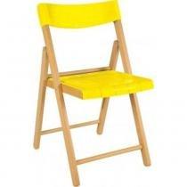 Cadeira de madeira e plástico amarelo dobrável - Potenza - Tramontina - Tramontina