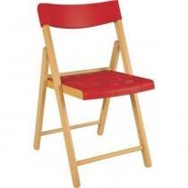 Cadeira de madeira e plástico vermelho dobrável - Potenza - Tramontina - Tramontina
