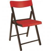 Cadeira de madeira tabaco e plástico vermelho dobrável - Potenza - Tramontina - Tramontina
