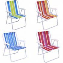 Cadeira de Praia Alta em Aco Cores Sortidas Mor -