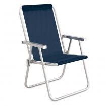 Cadeira De Praia Azul Marinho Alumínio Conforto 110kgs Mor - Metalúrgica mor