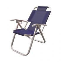 Cadeira de Praia Botafogo Reclinável Grand Ipanema Extra Alta - Azul Royal - Chapelaria botafogo
