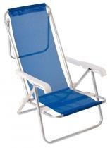 Cadeira de Praia Mor Sannet em Alumínio e Poliéster Reclinável 8 Posições Azul -