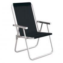 Cadeira De Praia Preta Alumínio Conforto 110kgs Mor - Metalúrgica mor