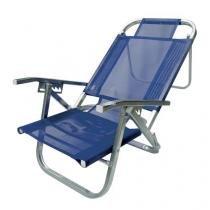 Cadeira de Praia Reclinável - Copacabana - Azul Royal - Botafogo - Chapelaria Botafogo