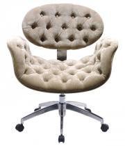 Cadeira Decorativa Tulipa Pierre Paulin - Giratória Bege Capitonê - Industria das Cadeiras