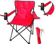 Cadeira Dobravel Braço Porta Copo Camping Pescaria Com Bolsa de Transporte Vermelha - Braslu