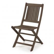 Cadeira Dobrável sem Braços para Áreas Externas em Madeira Eucalipto - Maior Durabilidade - Nogueira - Casatema