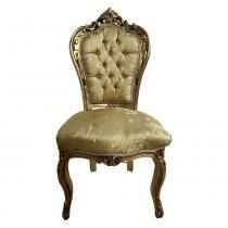 544e140fa Cadeira em Madeira Folheada a Ouro Tecido Capitonê - Prime home decor