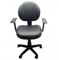 Cadeira Executiva Giratória em Corino e Braço Regulável Plaxmetal - Preto - PLAXMETAL