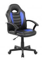 Cadeira Gamer Kids em Couro PU Preta com Azul Pelegrin PEL-9353 -