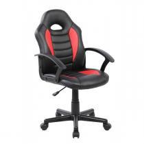 Cadeira Gamer Kids em Couro PU Preta com Vermelha Pelegrin PEL-9353 - Pelegrin