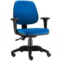 Cadeira Giratória Job Executiva Ergonomica Escritório Tecido Azul - Lymdecor