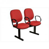 Cadeira Longarina Diretor 2 Lugares Vermelho - Plata Móveis -