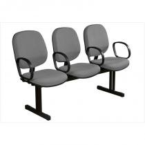 Cadeira Longarina Executiva 3 Lugares Cinza/Preto - Plata Móveis - Plata Móveis