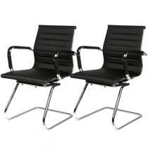 Cadeira  Metalica Revestida Multivisao em Couro EcológicoCAD-INTER-PR-C2 - 2 Peças - Multivisão