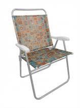 Cadeira Praia Kingsize Estampada Quadrado Zaka -