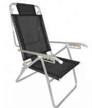 Cadeira Praia Reclinável Alumínio 5 Posições Infinit Up Zaka - Preta -