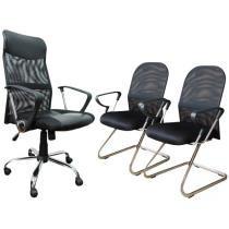Cadeira Presidente Giratória + 2 Cadeiras Fixas Singapura - Akazie