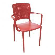 Cadeira Safira com Braço Vermelho - Tramontina