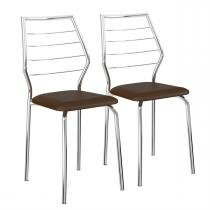 Cadeiras 2 Peças Napa Cacau Cromado 1716 Móveis Carraro - Móveis Carraro