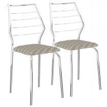 Cadeiras 2 Peças Tecido Retro Cromado 1716 Móveis Carraro - Móveis Carraro